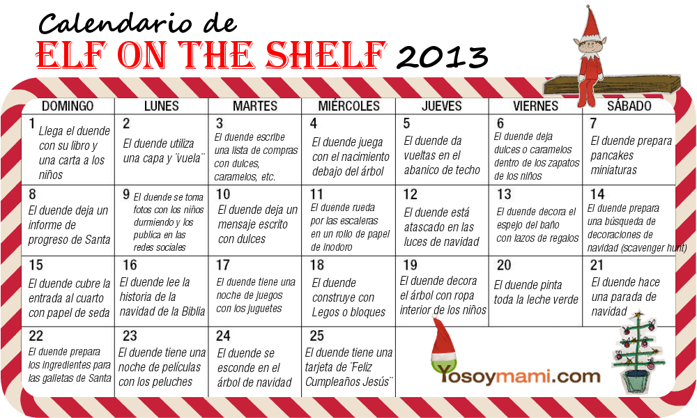 "Calendario de Actividades Para el Duende ""Elf on the Shelf"" 