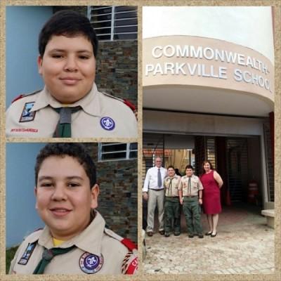 Mis hijos orgullosos llevan su uniforme a su colegio en la Semana Escutista 2014.