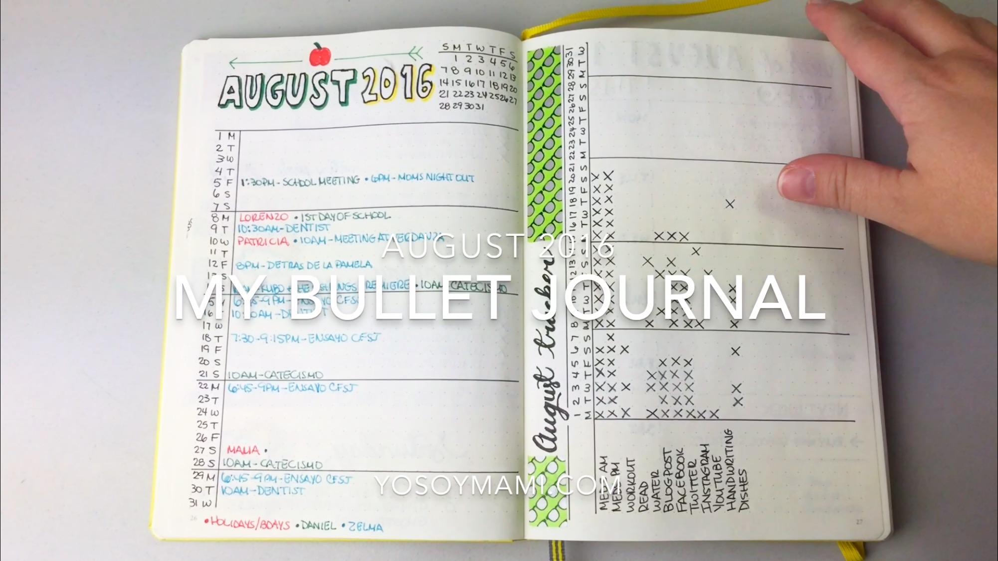 Mi Bullet Journal Para Agosto 2016 | @yosoymamipr